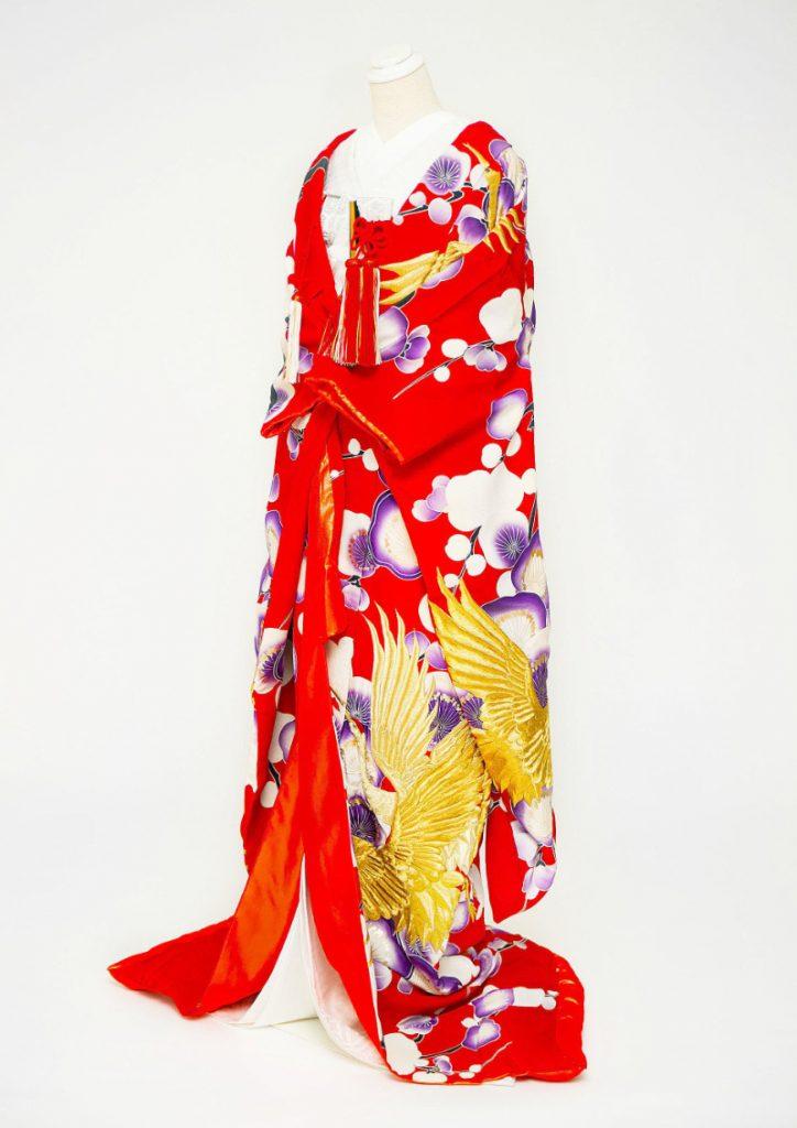 赤紫 金の鶴